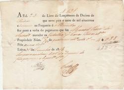 Receipt * Portugal * Lisboa * 1816 * Decima - Portugal