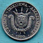 C35/  BURUNDI REPUBLIC  1 Franc 1980 KM#19 - Burundi