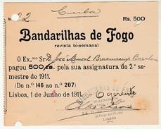 Receipt * Portugal * Lisboa * 1911 * Revista '' Bandarilhas De Fogo '' - Portugal