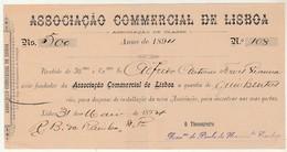 Receipt * Portugal * Lisboa * 1894 * Associação Commercial De Lisboa - Portugal