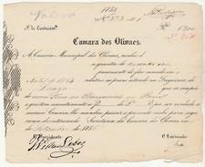 Receipt * Portugal * Olivaes * 1854 * Camara Dos Olivaes - Portugal