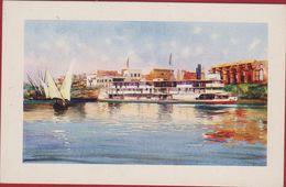 Egypte Egypt Ägypten Egipto Egitto Luxor Thebe Thebes Steamer On The Nile Edicione D'Arte Astro Italia Illustrator - Luxor