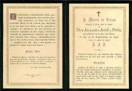 050817 - FAIRE PART DECES ANCIEN - ESPAGNE DON ALEJANDRO AVIAL Y PENA 1896 - Obituary Notices