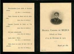 050817 - FAIRE PART DECES ANCIEN -  PEROU LIMA 1913 MICAELA CARASSA DE MUJICA - Obituary Notices