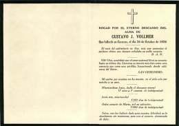 050817 - FAIRE PART DECES ANCIEN - VENEZUELA CARACAS 1926 - GUSTAVO J VOLLMER - DIEGO VELASQUEZ CHRIST EN CROIX - Obituary Notices