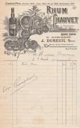 Facture Illustrée 3/8/1908 RHUM CHAUVET De E Marchand J DUREUIL Succ AUTUN Saône Et Loire - France