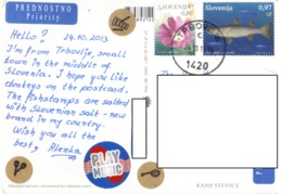 21C: Slovenia Fish Flower Stamps Used On Mule Donkey Postcard - Slowenien