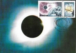 Eclipse Roumanie - Romania, Carte Et Timbre Eclipsa Totala De Soare 11 Août 1999 - Astronomy