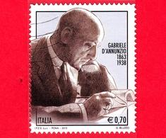 ITALIA - Usato - 2013 - 150º Anniversario Della Nascita Di Gabriele D'Annunzio - 0,70 - Ritratto - 6. 1946-.. Republic