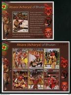 BHUTAN 2015 - Masks, Dances, Traditions - Feuillet 6 Val + BF Neufs // Mnh - Bhoutan