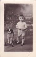 Carte Photo : Bébé Avec Son Chien (fox) à Roulettes      Cachet à Sec Du Photographe Prunier De Bayeux (14) - Photos