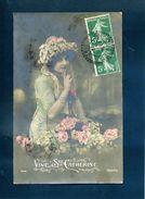 Conchy Les Pots Oise 1912 Type B3 Recette Distribution 137 Semeuse Paire Tarif 10c CP Vive Ste Catherine Calife - Storia Postale