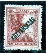 B - 1918 Ungheria - Uccello Mitologica Turul (linguellato) - Unused Stamps