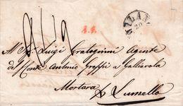 LV205 - LOMBARDO VENETO - 20/8/1858 Lettera Da Milano A Lomello (PV) Tassata 2,5 Decimi E Pagata In Denaro. RISPEDITA- - Lombardo-Veneto