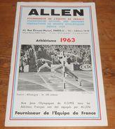 Athlétisme 1963. Allen. Fournisseur De L'équipe De France Depuis 1920. - Sport