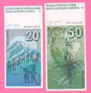 Svizzera 20 Francs Benèdict 1983 + 50 Francs Gessner 1987 - Suisse