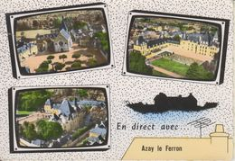 D36 - AZAY LE FERRON - L'EGLISE ET LA PLACE - LE CHATEAU  - MULTIVUES - EN DIRECT AVEC ... - CPSM Grand Format - Sonstige Gemeinden