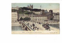 Cpa - 69 LYON - LE PONT TILSIT ET LE COTEAU DE FOURVIERE - ANIMEE  ABSINTHE PREMIER FILS - EAU MINERALE ST ALBAN - 1905 - Pubblicitari