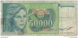 YOUGOSLAVIE 50000 DINARA 1988 P-96 BC/FR [YU096circ] - Yugoslavia