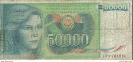 YUGOSLAVIA 50000 DINARA 1988 P-96 PR/FR  [YU096circ] - Yugoslavia