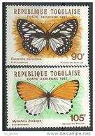 "Togo Aerien YT 477 & 478 (PA 477 & 478) "" Papillons "" 1982 Neuf ** - Togo (1960-...)"