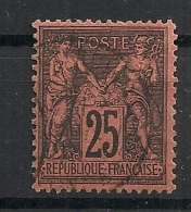 25c SAGE Noir Sur Rouge, TB DENTELURE. TRES FRAIS. - 1876-1898 Sage (Type II)
