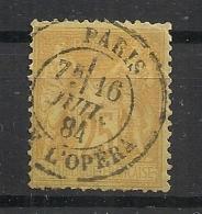 PARIS AV DE L'OPERA Sur 25c SAGE. - 1876-1898 Sage (Type II)