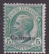 Italy-Colonies And Territories-Aegean-Calino S2  1912 5c Green MH - Aegean (Calino)