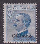 Italy-Colonies And Territories-Aegean-Calino S5 1912 25c Blue MH - Aegean (Calino)
