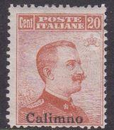 Italy-Colonies And Territories-Aegean-Calino S9 1917 20c Brown Orange No Watermark MH - Aegean (Calino)