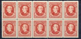 SLOVAKIA 1939 Hlinka Definitive 20 H Block Of 10 MNH / ** .  Michel 37A - Unused Stamps