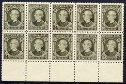 SLOVAKIA 1939 Hlinka Definitive 10 H Block Of 10 MNH / ** .  Michel 36A - Neufs