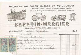 Facture 1922 - BARATIN Vitry Aux Loges 6 - France