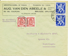 Belgium Cover Sent Air Mail To Denmark Brugge 10-3-1946 - Covers & Documents