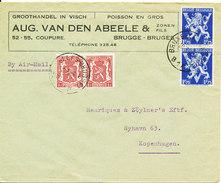 Belgium Cover Sent Air Mail To Denmark Brugge 10-3-1946 - Belgio