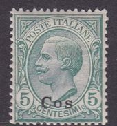 Italy-Colonies And Territories-Aegean-Coo S 2  1912 5c Green MH - Aegean (Coo)