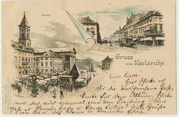 Gruss Aus Karlsruhe Litho Johannes Elchlepp Kunstlerpostkarte  Used 1898 Munchen - Karlsruhe