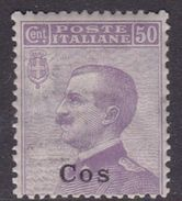 Italy-Colonies And Territories-Aegean-Coo S 7  1912 50c Violet MNH - Aegean (Coo)