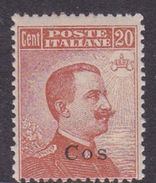 Italy-Colonies And Territories-Aegean-Coo S 11  1921 20c Brown Orange Watermark MNH - Aegean (Coo)