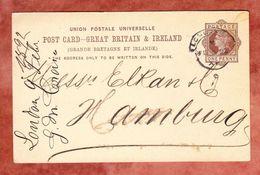 P 18 Koenigin Viktoria, London Nach Hamburg, AK-Stempel 1892 (40321) - Briefe U. Dokumente