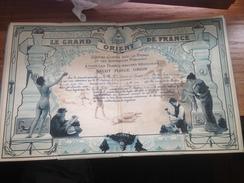 FRANCS-MACONS- Diplôme Maçonnique - TITRES AUTHENTIQUES 1896 - Diploma & School Reports