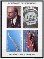 Sao Tome E Principe, 1977, Lenin, Gagarin, Concorde, Olympics, Rowing, MNH Imperforated Sheet, Michel Block 8B - Sao Tome Et Principe