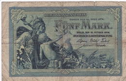 ALLEMAGNE BILLET DE 5 MARK 1904  ALPHABET / Z - [ 2] 1871-1918 : German Empire