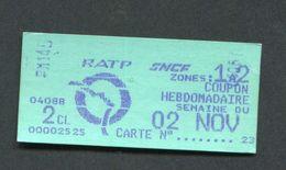Ticket De Train De Banlieue Années 90 Coupon Hebdomadaire 1 à 2 Paris - Billet SNCF / RATP - Abonnements Hebdomadaires & Mensuels