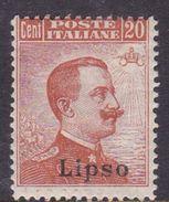 Italy-Colonies And Territories-Aegean-Lipso S11  1921 20c Brown Orange Watermark MH - Aegean (Lipso)