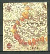 POLAND MNH ** Bloc 131 CARTE ANCIENNE. COLLIER D´AMBRE. EXPOSITION PHILATELIQUE à POZNAN - 1944-.... République
