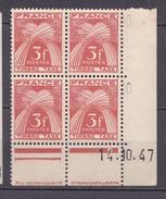 N° 83 Timbres Taxes Type Gerbes Légende FRANCE TIMBRE TAXES 3F Rouge-Brun: Un Bloc De 4 Timbres Coins Datés 14.10.47 - Coins Datés