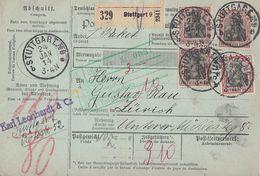 DR Paketkarte Mif Minr.90I,3x 91I Stuttgart 24.1.14 Gel. In Schweiz - Briefe U. Dokumente