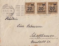 DR Brief Mef Minr.3x 281 Stuttgart 31.8.23 Gel. In Schweiz - Deutschland