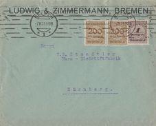 DR Brief Mif Minr.2x 323A,325A Bremen 7.11.23 - Deutschland